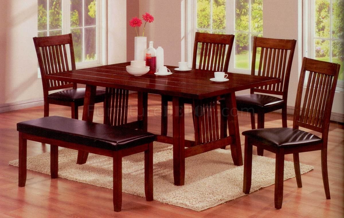 Chocolate Finish Modern Dining Table W/Optional Chairs & Bench