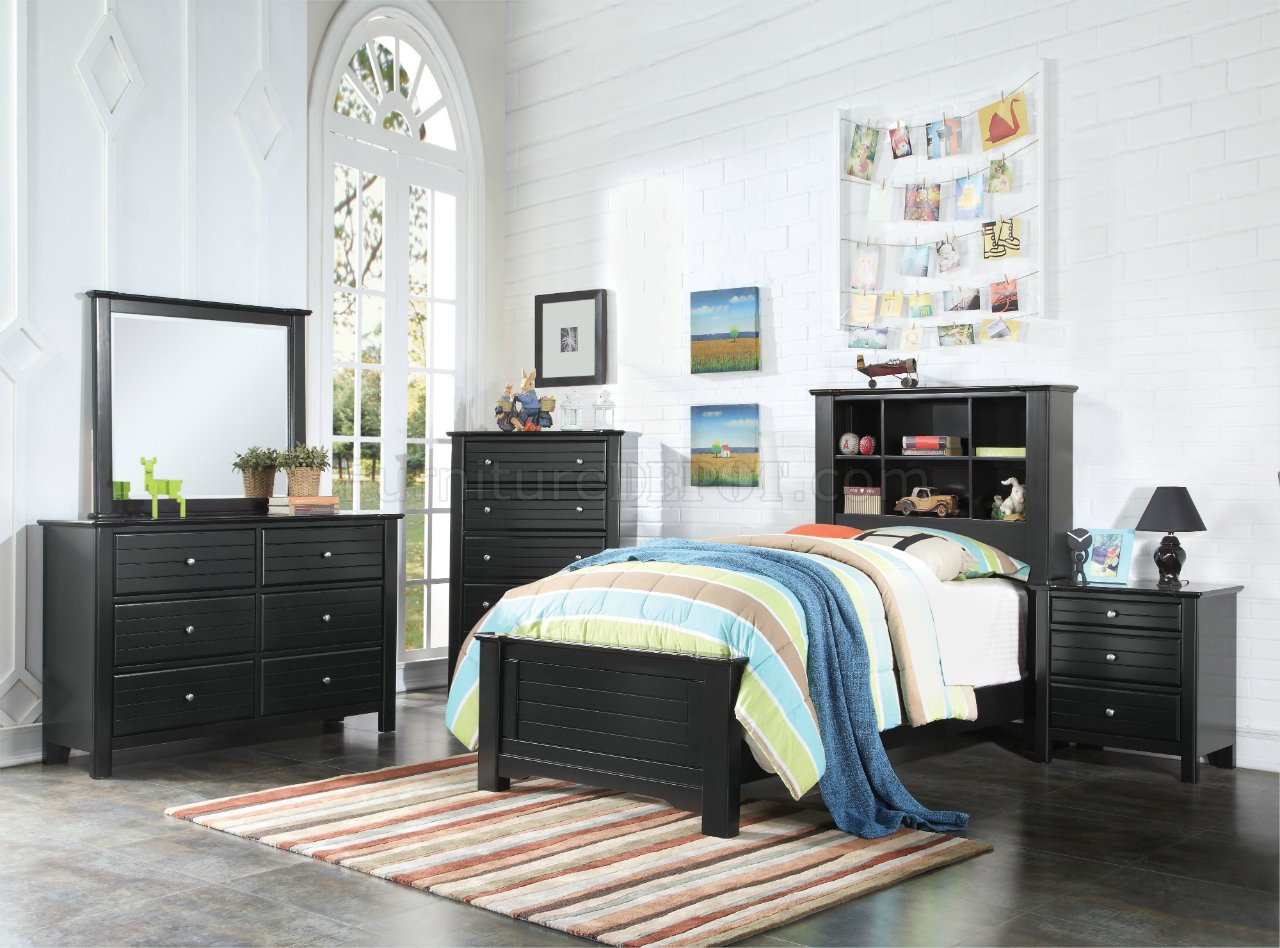 Contemporary Bedroom Set London Black By Acme Furniture: Mallowsea Youth Bedroom 30380 In Black By Acme W/Options