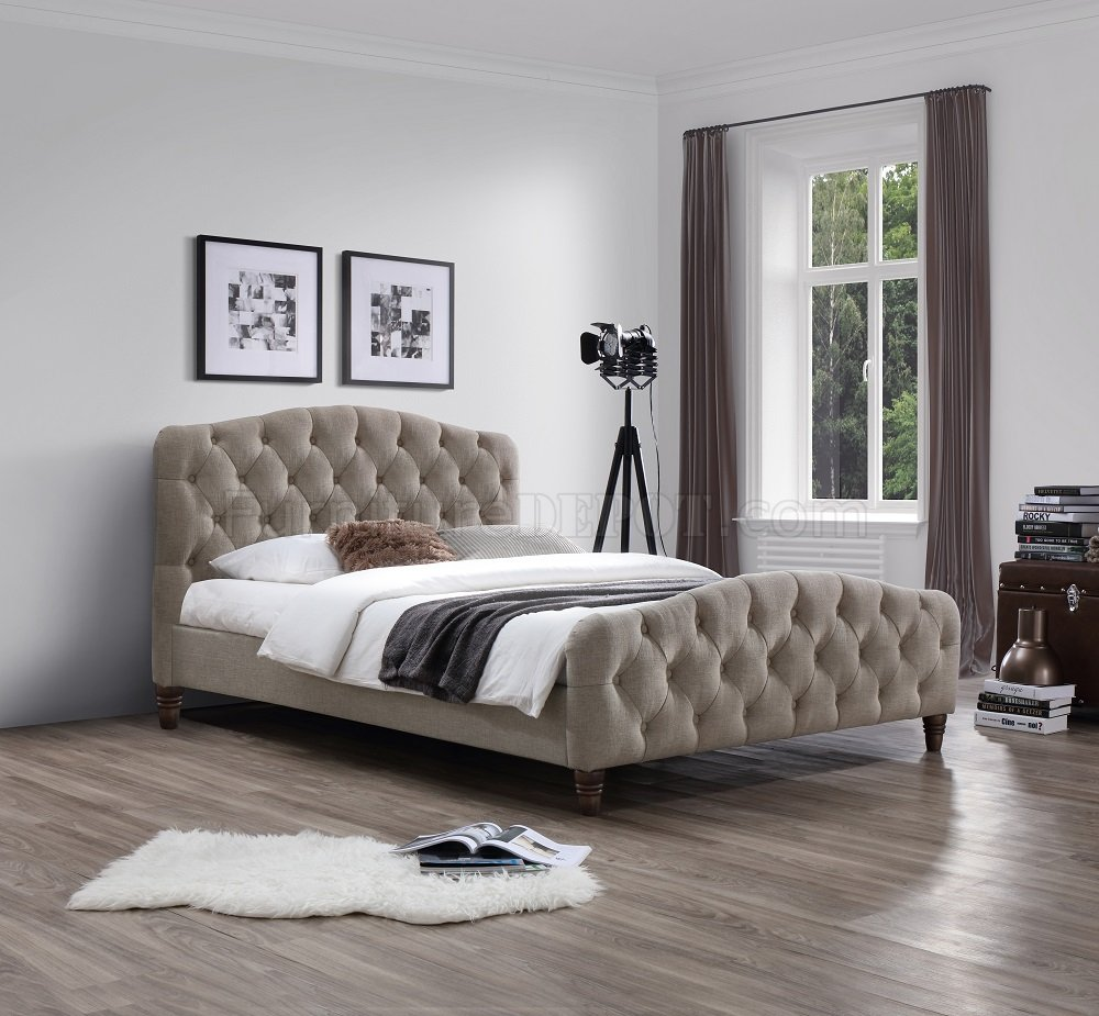 Sandra Upholstered Platform Bed In Taupe Fabric By J&M