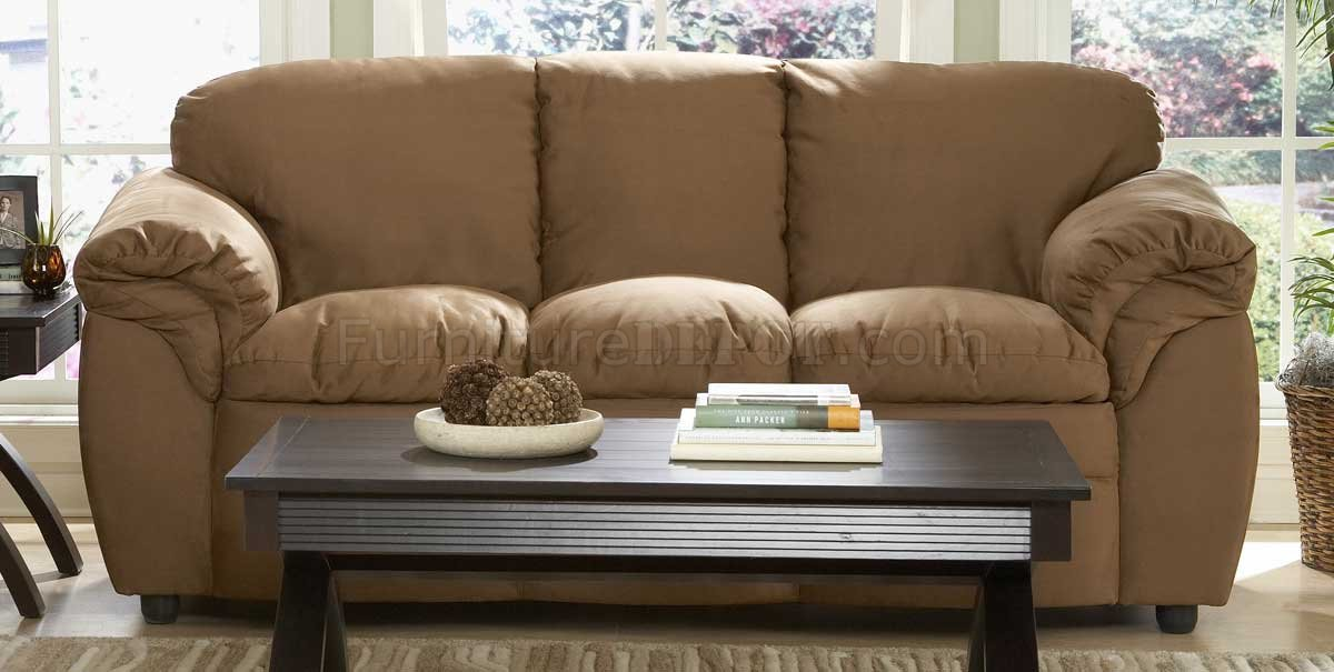 Brown Microfiber Plush Contemporary Sofa U0026 Loveseat Set