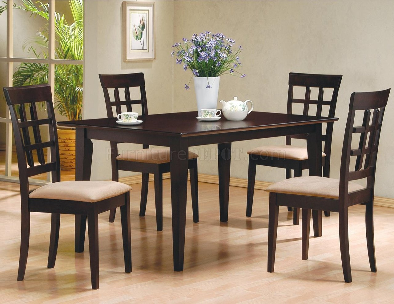 Cappuccino finish 5pc modern dinette set w microfiber seats for Modern dining furniture