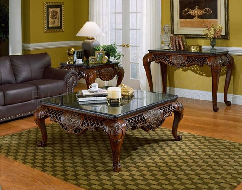 Traditional Living Room Tables dark cherry finish traditional coffee table w/black marble top