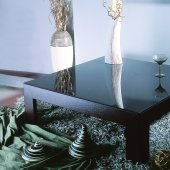 Wenge Finish Modern Coffee Table With Glass Top