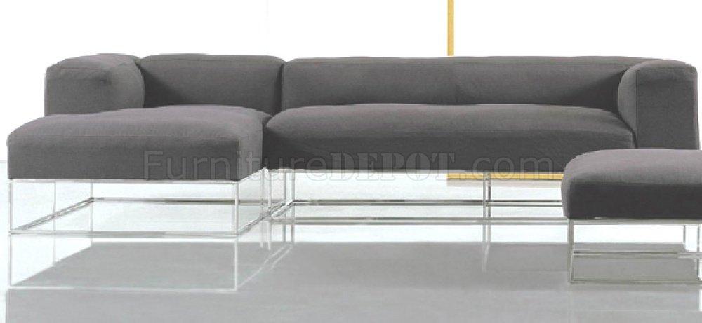 Black Fabric Modern Sectional Sofa W High Polished Metal Frame