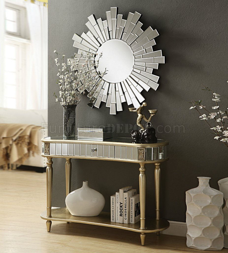 Kaya Console Table Amp Mirror Set 97239 In Champagne By Acme