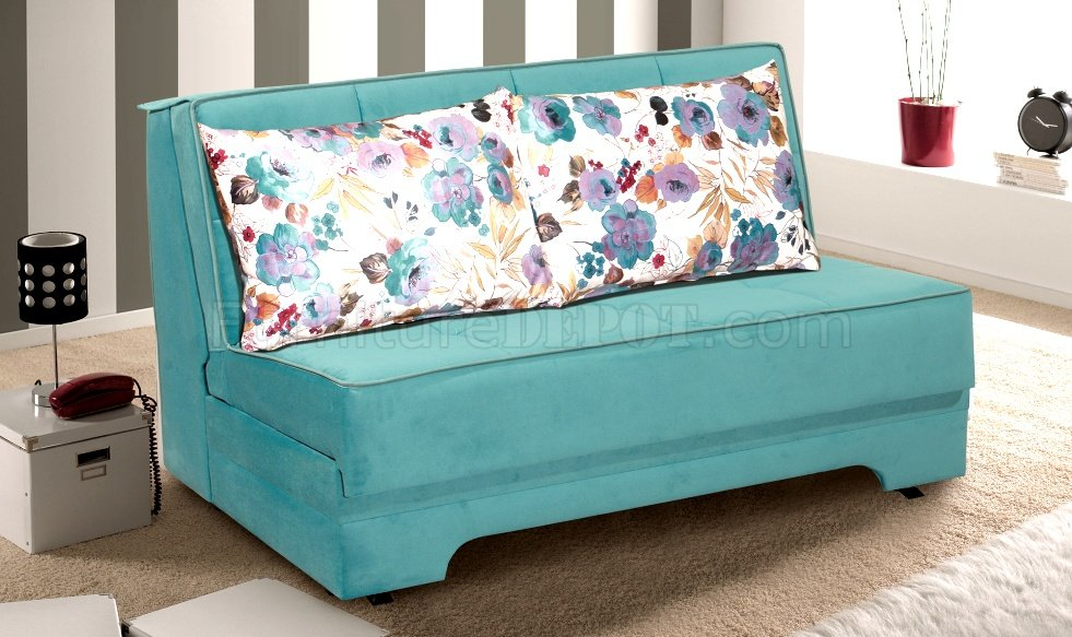 Rio pull out loveseat bed in blue microfiber fabric by rain Loveseat with pullout bed