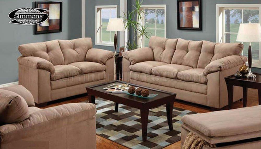 Tan Micro Suede Contemporary Sofa