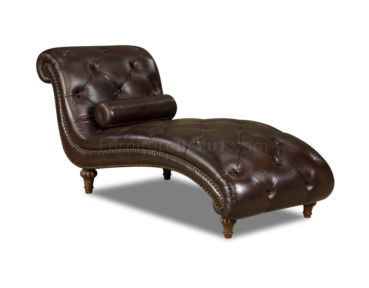 Rich brown top grain tufted leather traditional chaise lounge for Brown leather chaise lounge