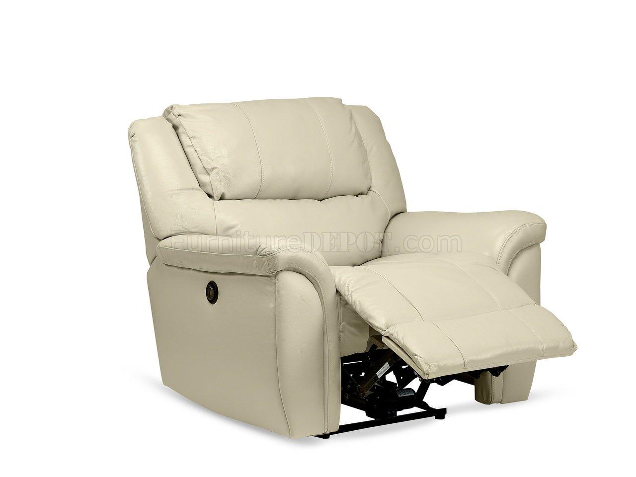 Dawson Power Reclining Sofa Set In Cream Leather Match By