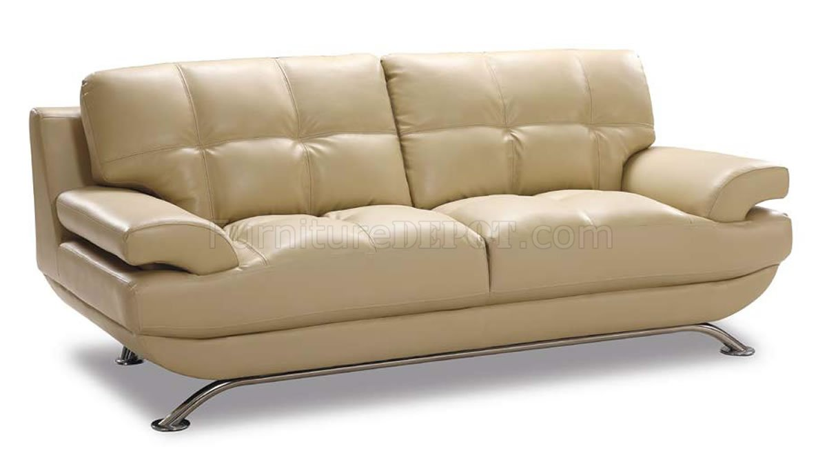 Beige Leather Modern Elegant Living Room With Tufted Seats