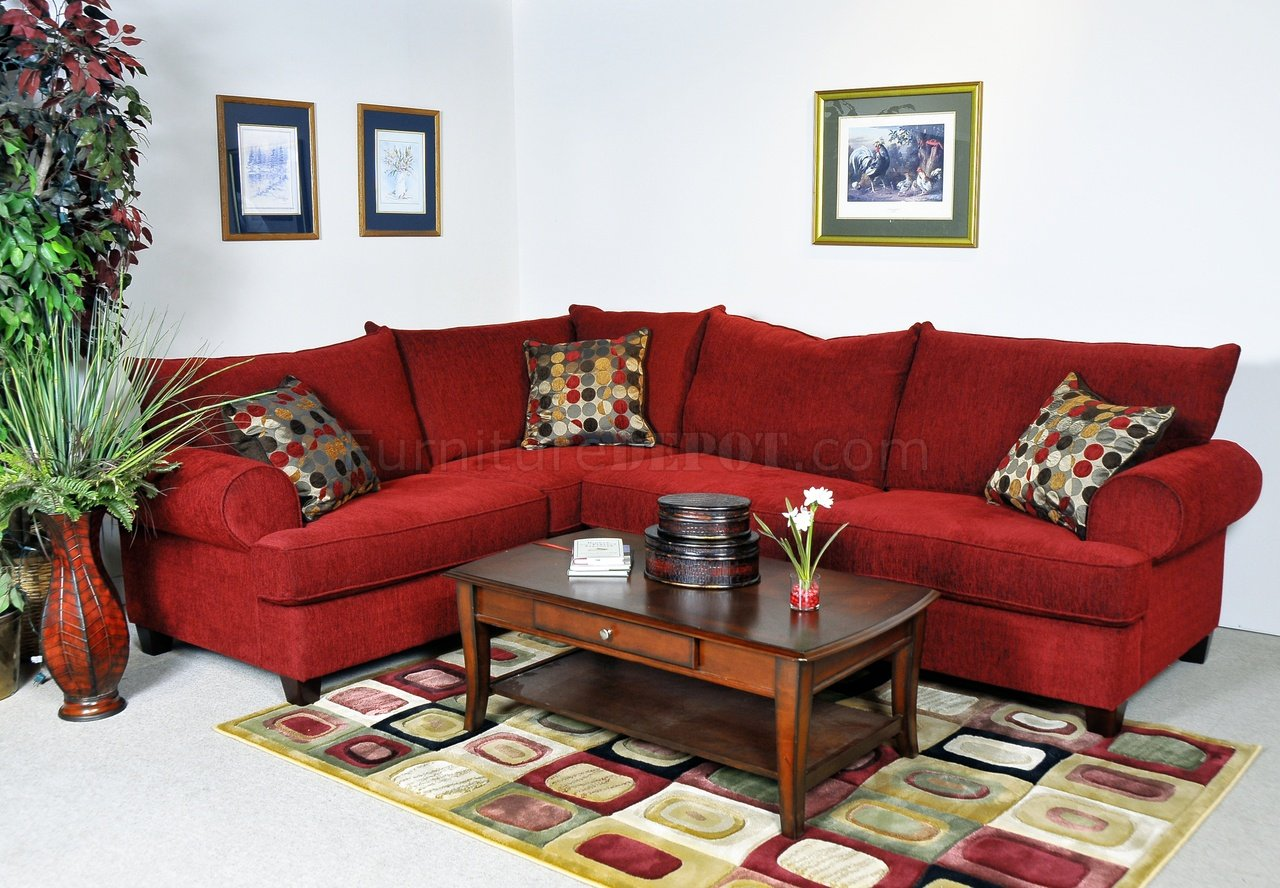 Red Fabric Contemporary Sectional Sofa w/Rolled Arms
