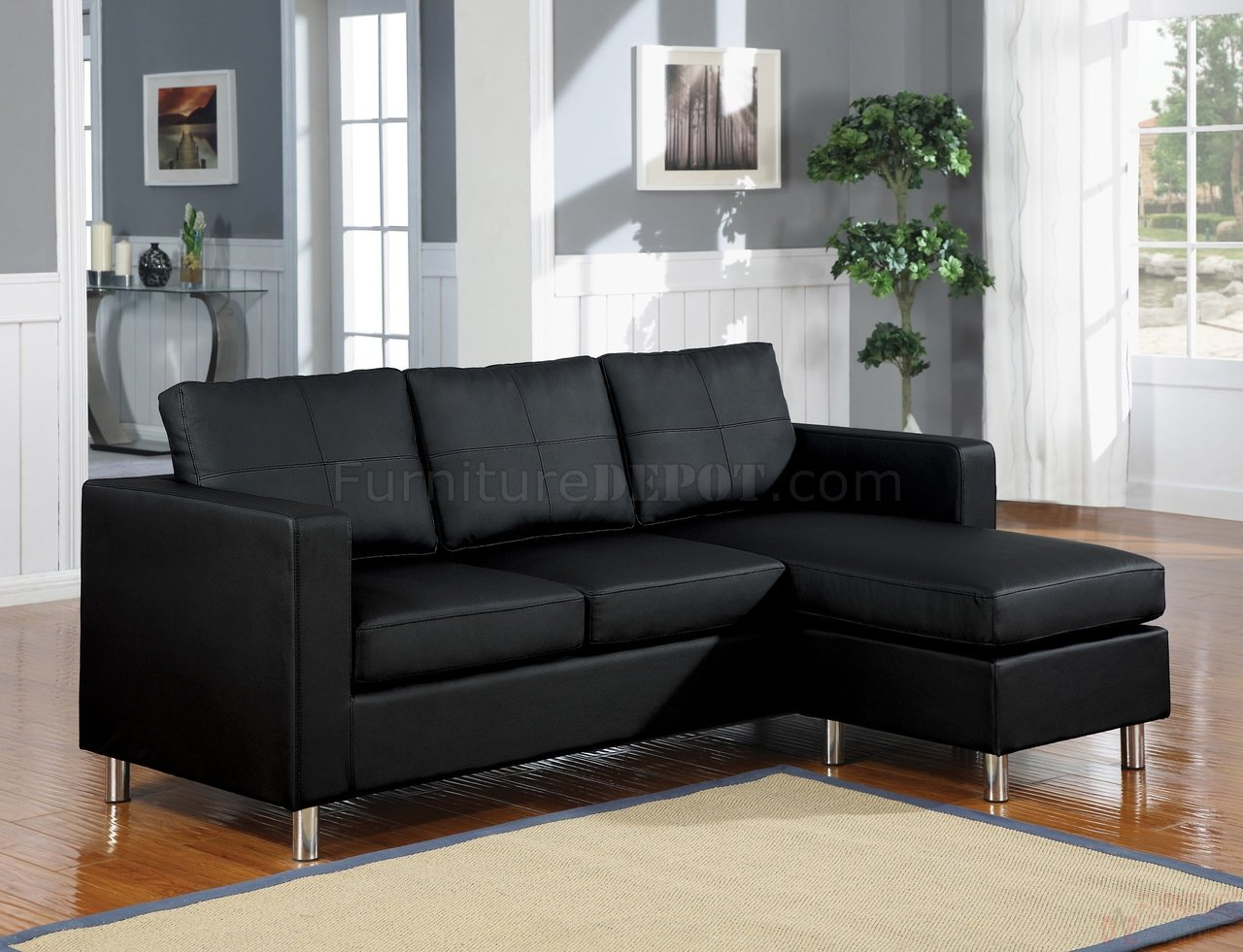 Contemporary Bedroom Set London Black By Acme Furniture: 15065 Kemen Sectional Sofa In Black Vinyl By Acme