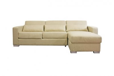 Cream Fabric Modern Sleeper Sectional Sofa w Storage Chaise