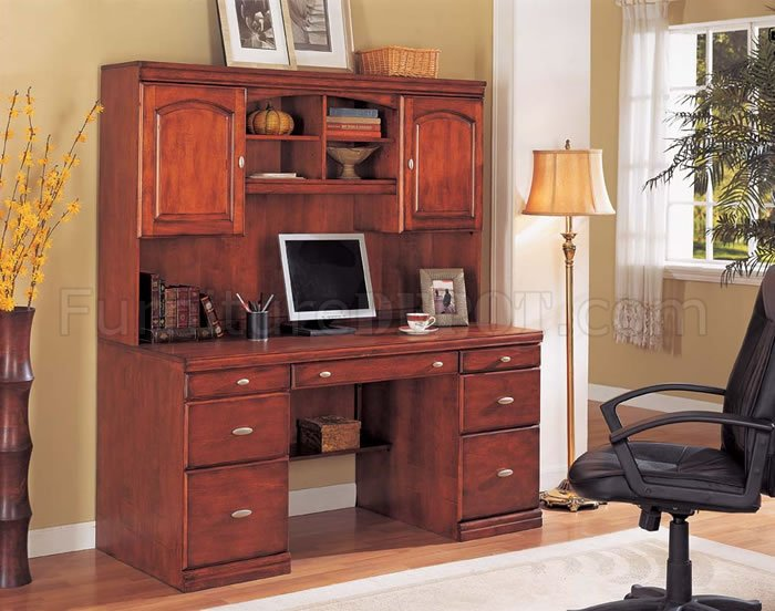 Contemporary Cherry Color Office Desk With Optional Hutch