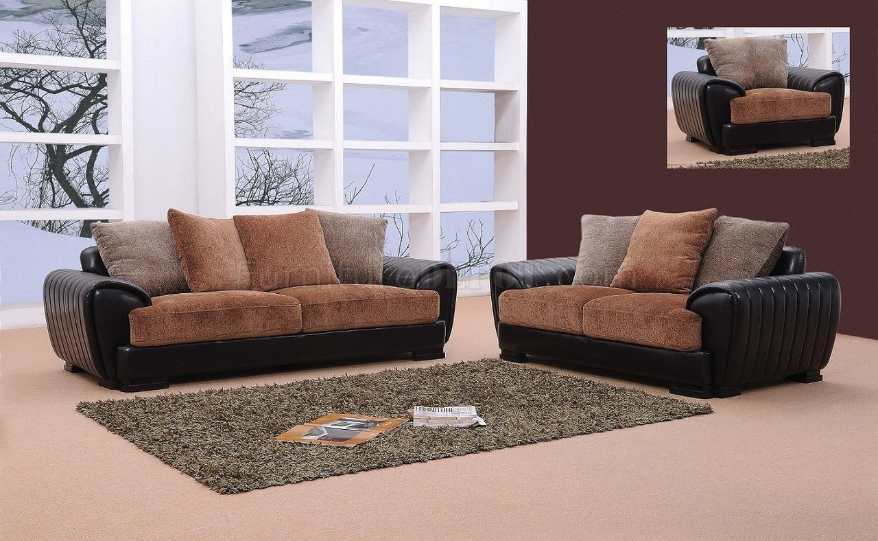 Berlin Brown & Black Microfiber & Leather Living Room Set