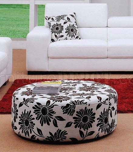 White Fabric 3PC Modern Living Room Set W/Ottoman