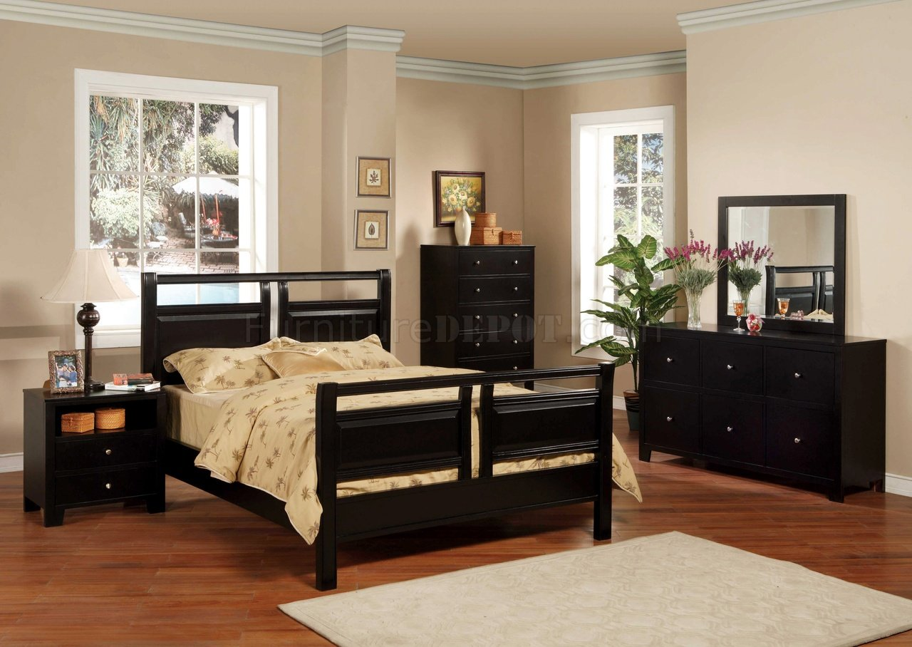 Contemporary Bedroom Set London Black By Acme Furniture: Black Finish Modern 5Pc Bedroom Set W/Queen Or Full Bed