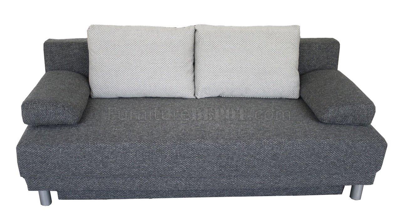 Grey Plush Textured Fabric Modern Sofa Bed Convertible w/Storage