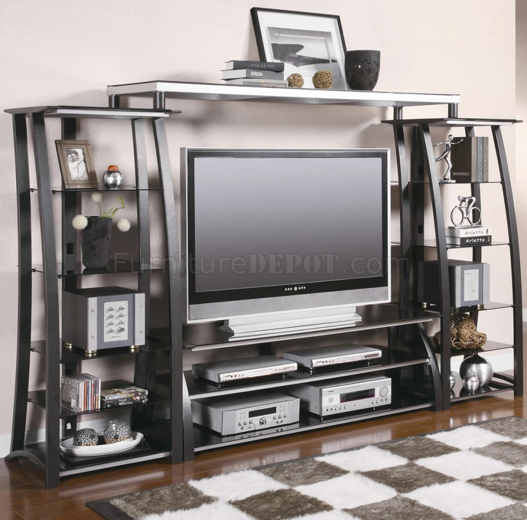 Metal tempered glass modern entertainment wall unit Wall unit furniture