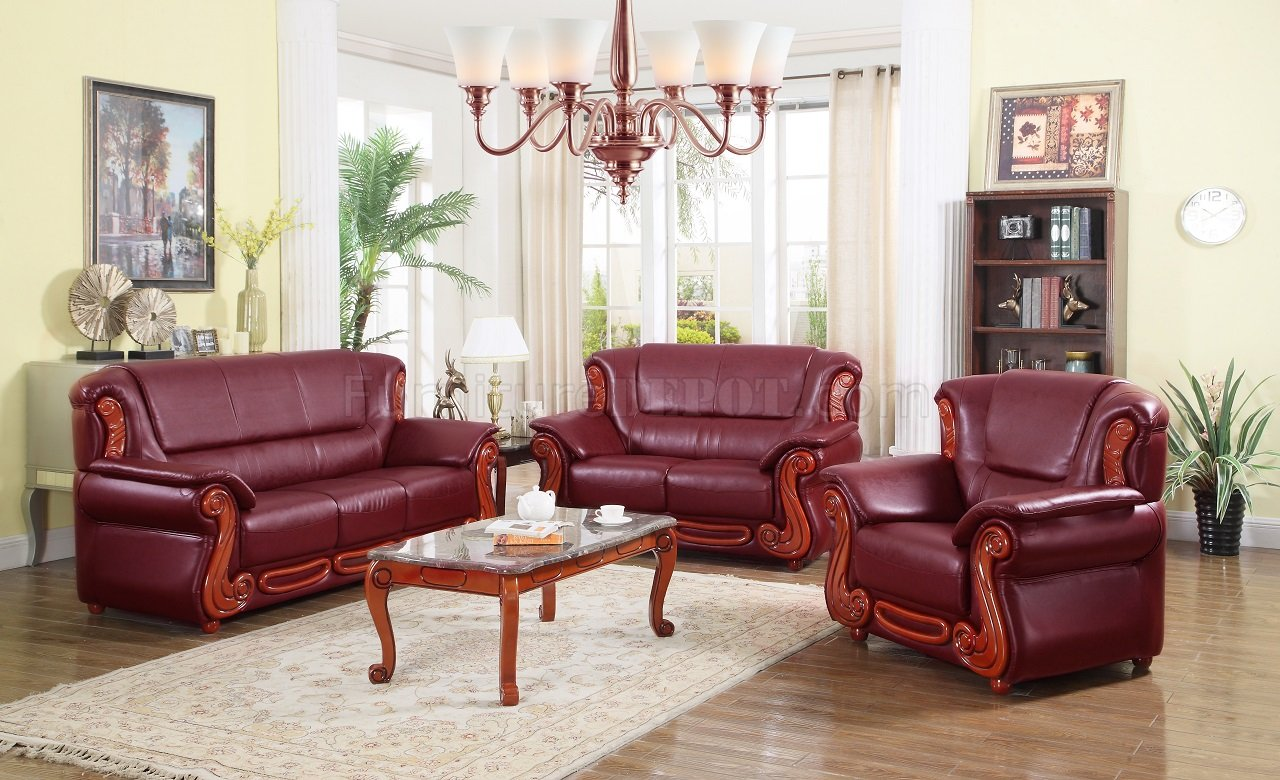 Furniture For Living Rooms: Bella 632 Sofa In Burgundy Bonded Leather W/Optional Items