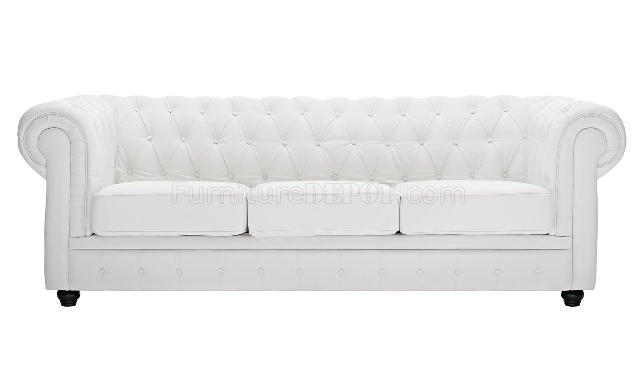 Chesterfield Sofa In White Leather By Modway W Options