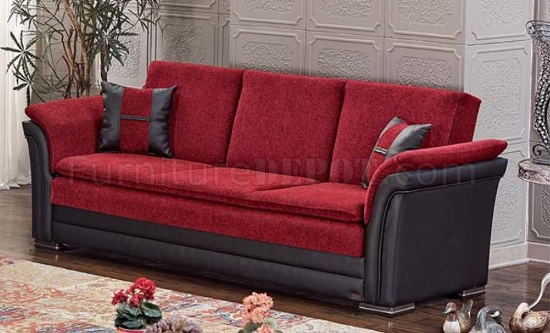 Austin Sofa Bed Convertible in Red & Black by Empire w/Options