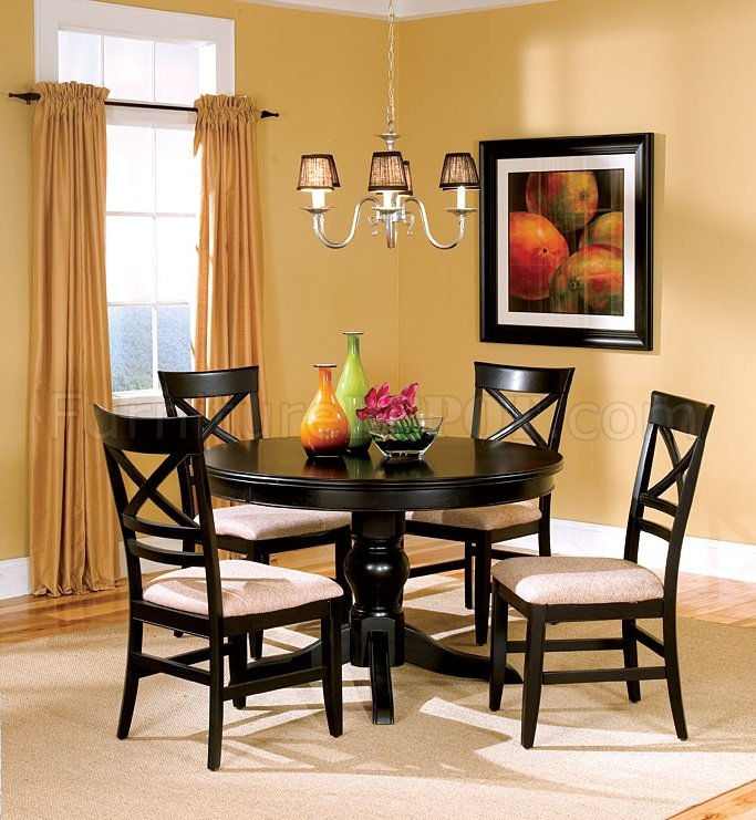 Black Finish Dining Room With Round Table