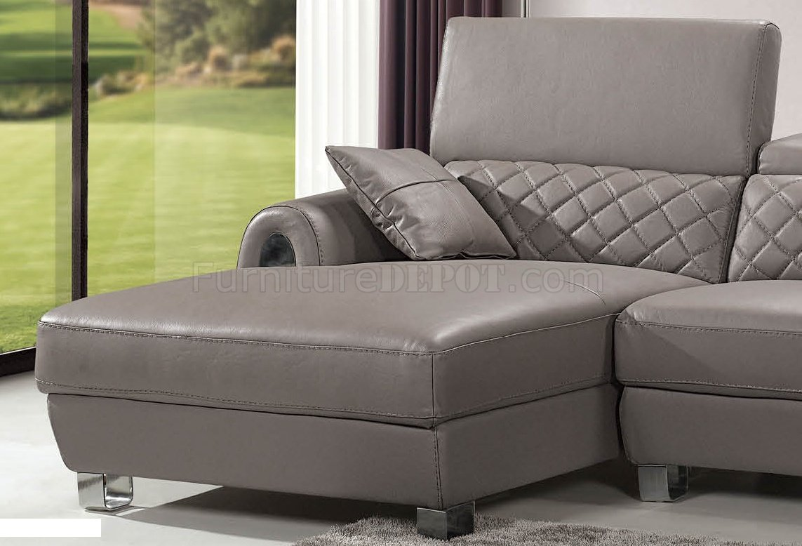 Light grey full italian leather modern sectional sofa for Light gray leather sofa
