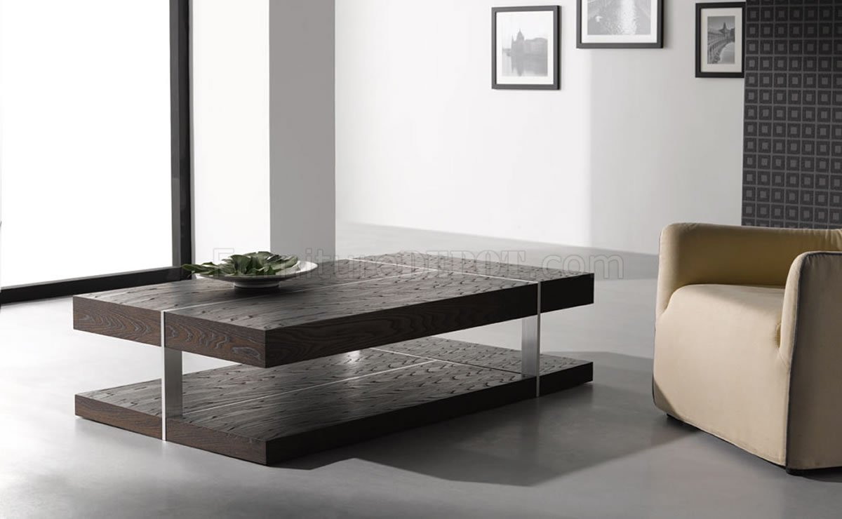 Wenge zebrano finish modern coffee table w metal accents for Modern living room no coffee table