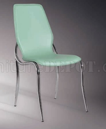 Set Of 4 Dining Chairs With Green Leather Match Upholstery