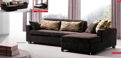 Brown Fabric Modern Sectional Sofa w Sleeper & Storage Chaise