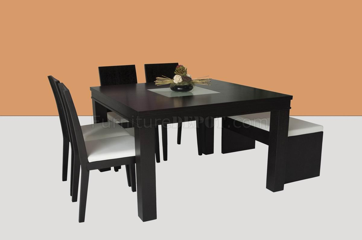 Wenge finish modern square dining table w glass center for Modern dining table