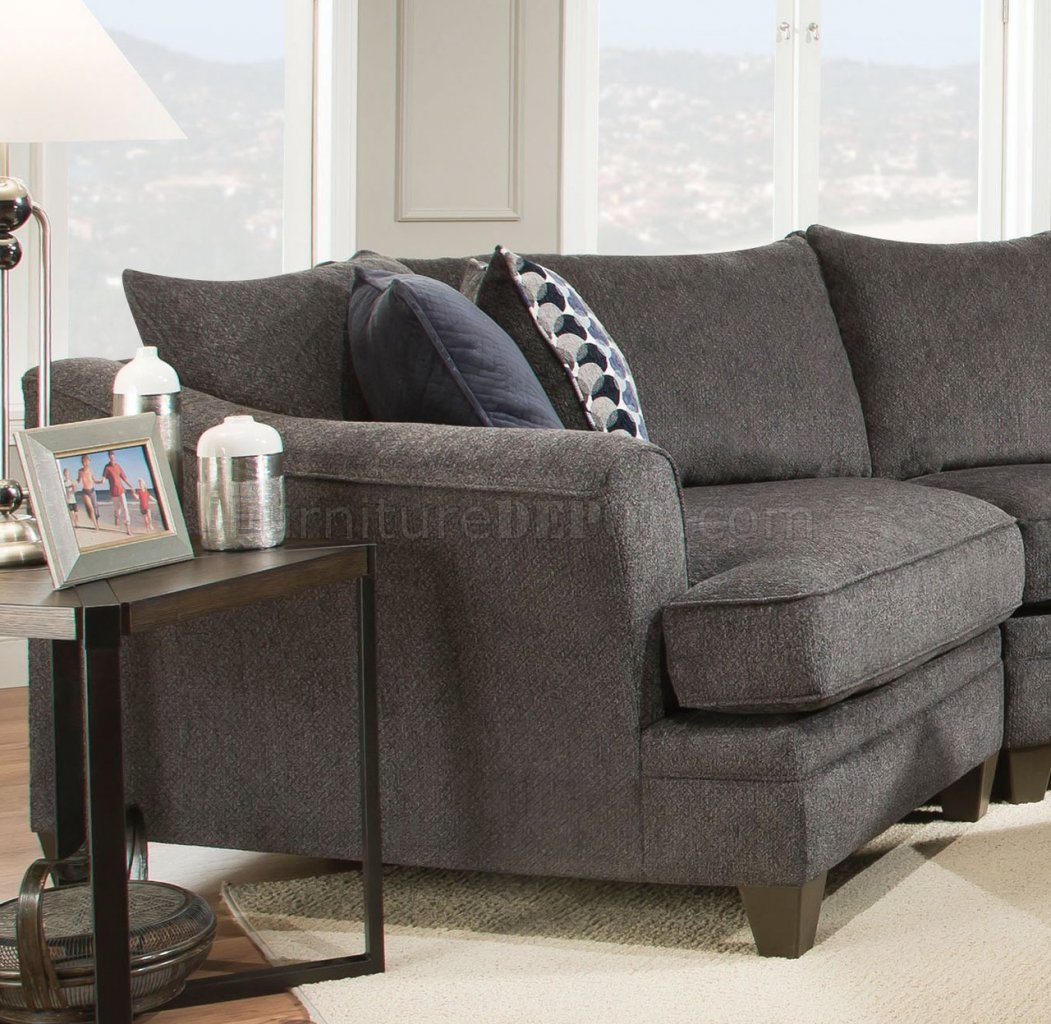 Albany Sectional Sofa 53835 In Grey Fabric By Acme W Options