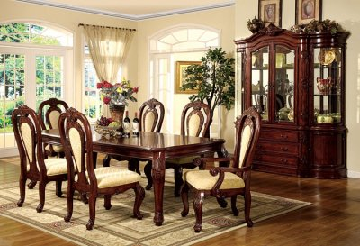 Cheapest Living Room Sets on Formal Dining Room Set W Dark Cherry Finish And Carving Details At