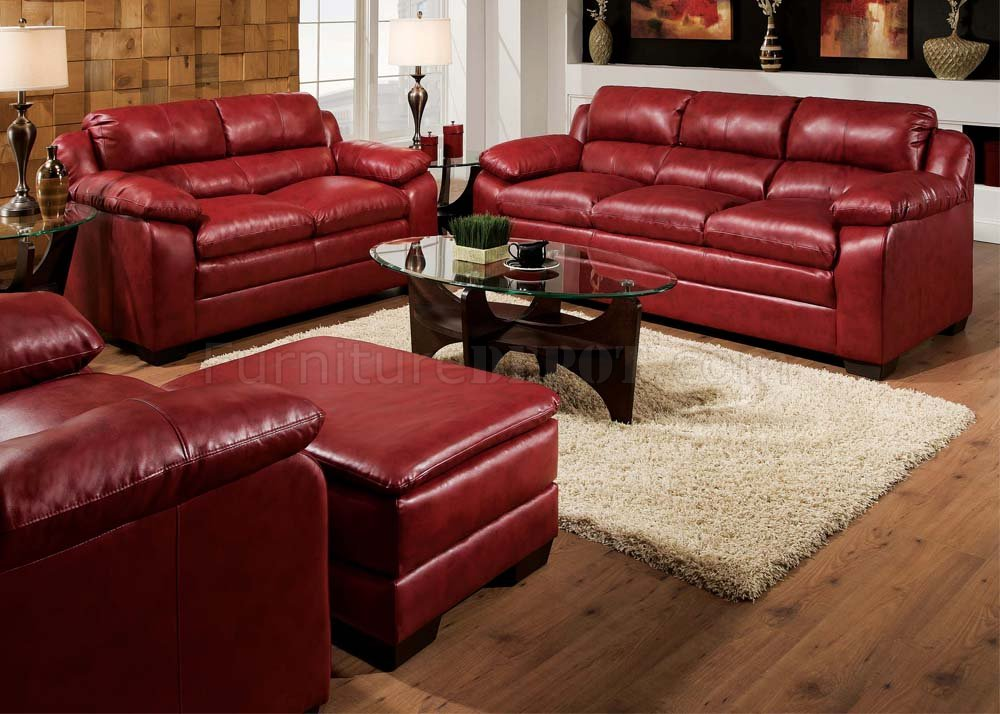 50595 Jeremy Sofa In Cardinal Red Bonded Leather Match By Acme