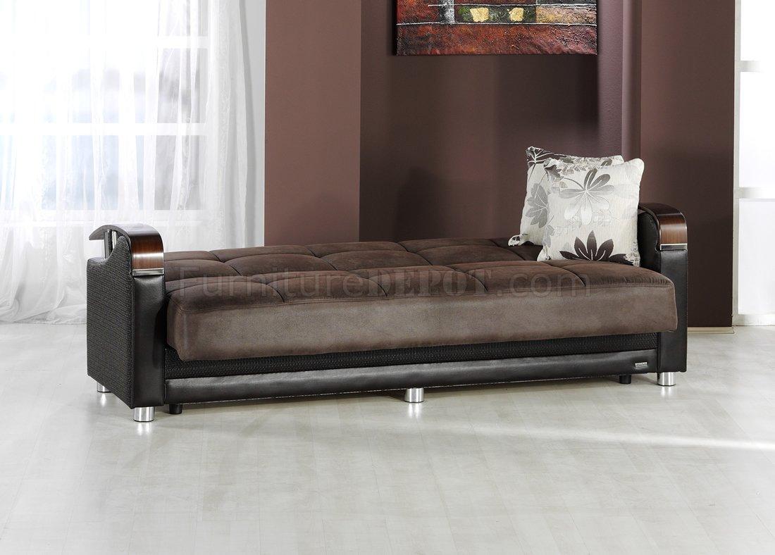 Luna Storage Sleeper Stylish Sofa In Two Tone By Sunset