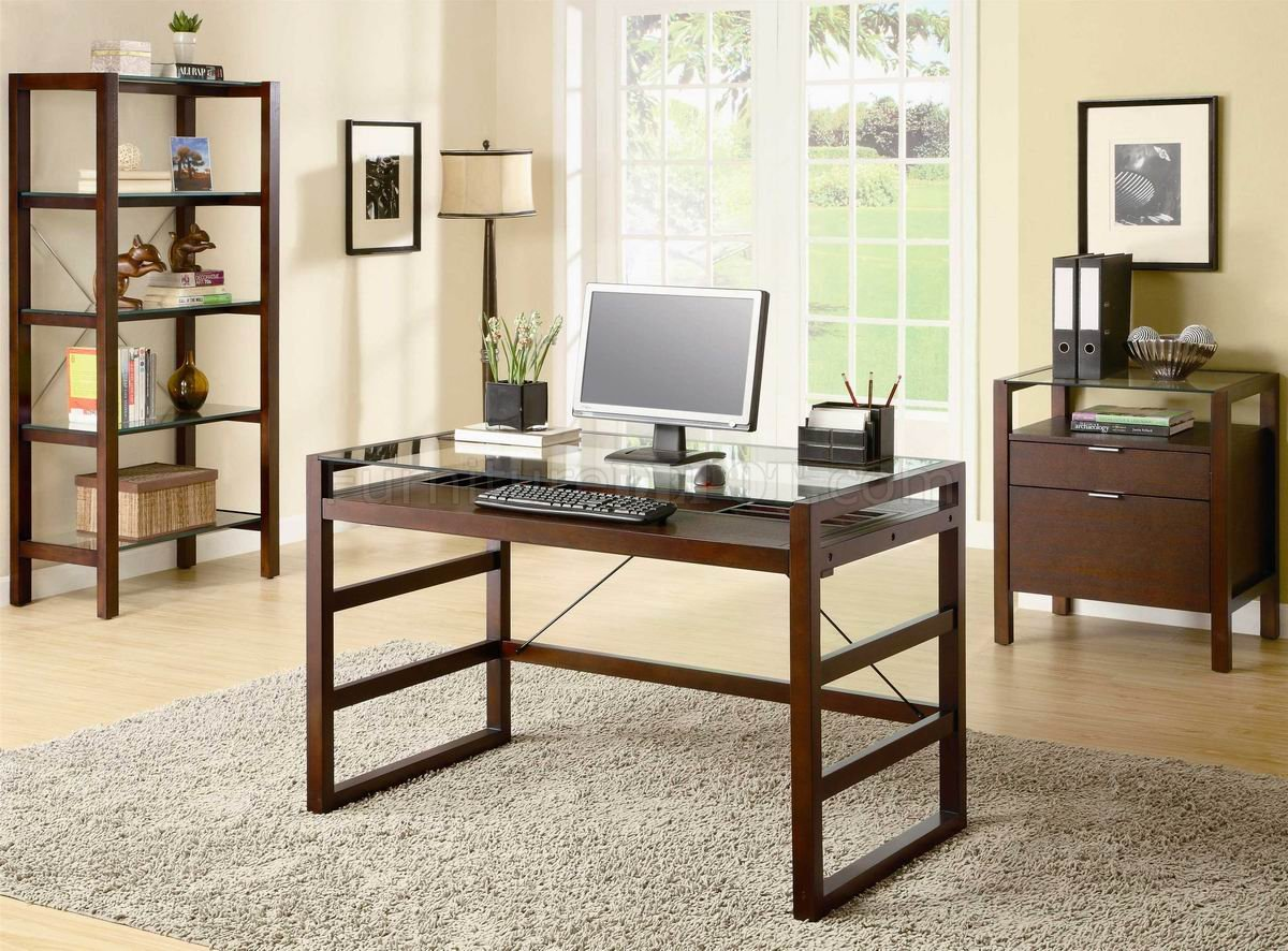 Hom Office Furniture: Dark Cherry Finish Modern Glass Top Home Office Desk W/Options