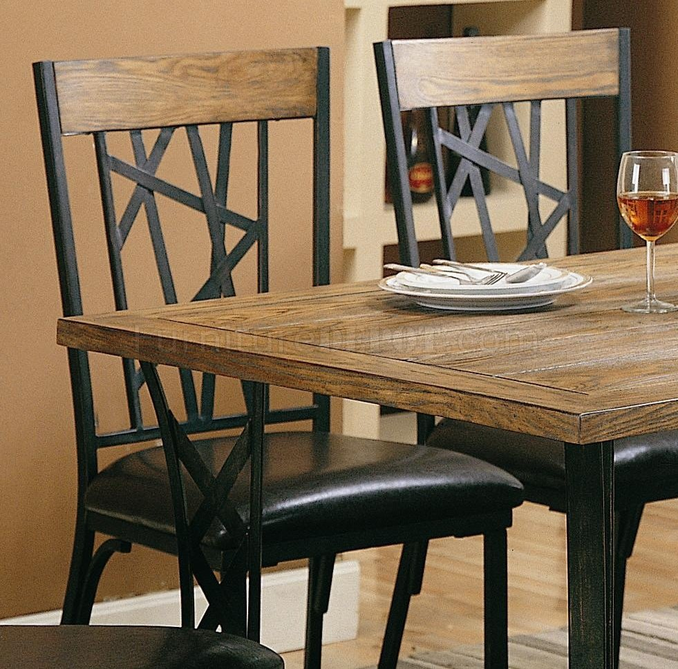 Black Metal U0026 Brown Wood Modern 5Pc Dining Set