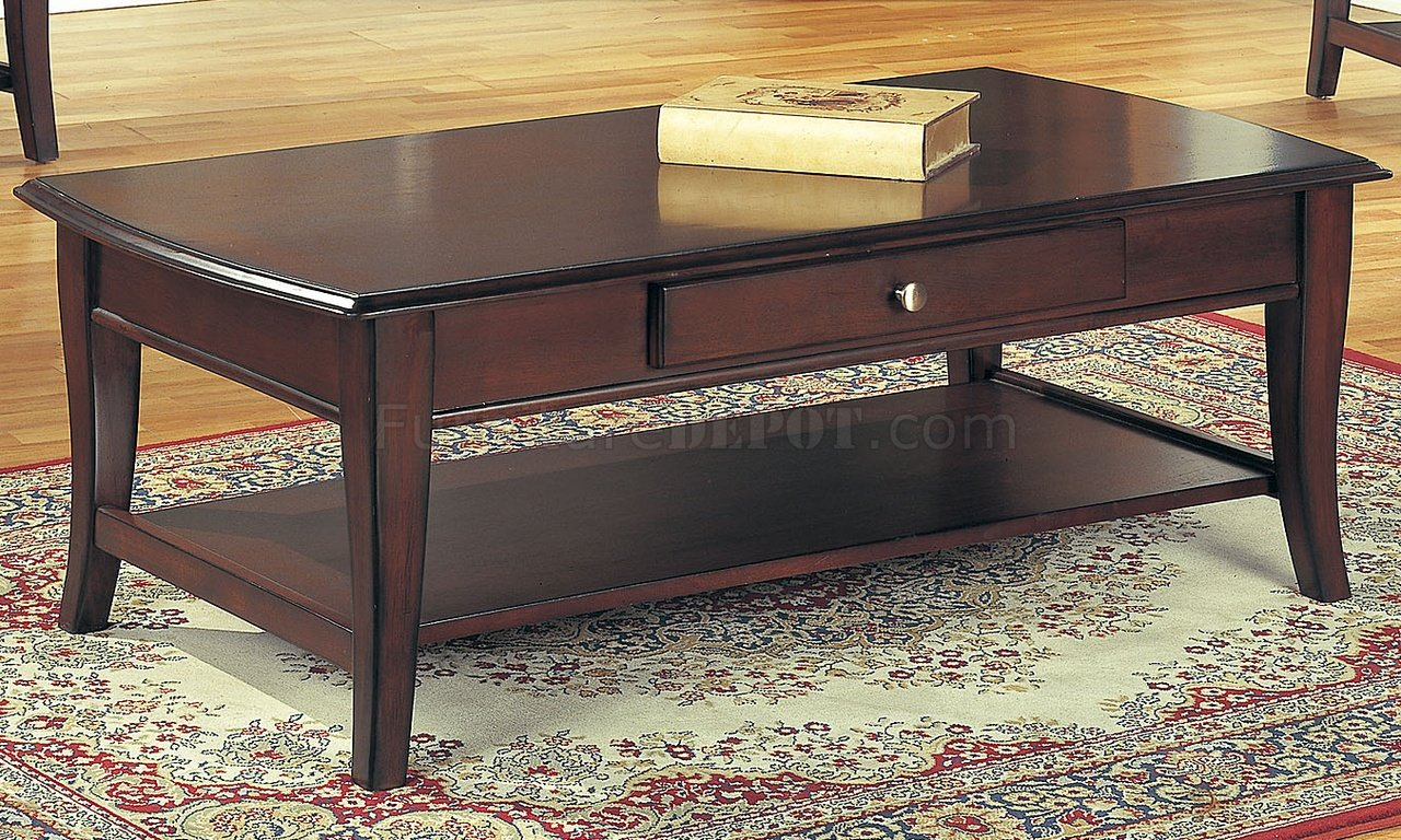 Classic Dark Brown Coffee Table End Tables 3pc Set W Drawer