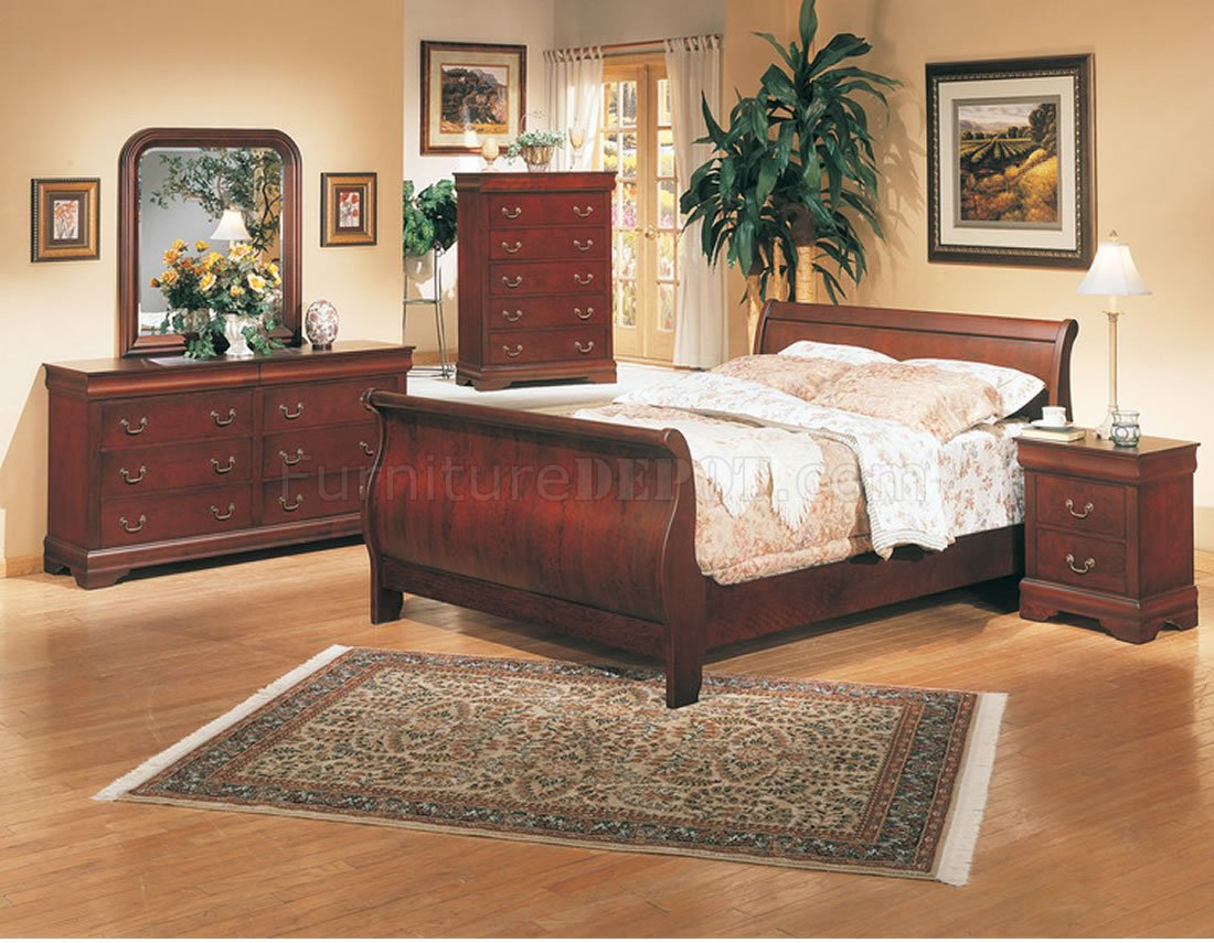 cherry bedroom set.  Classic Deep Cherry Finish Elegant 5Pc Bedroom Set w Sleigh Bed