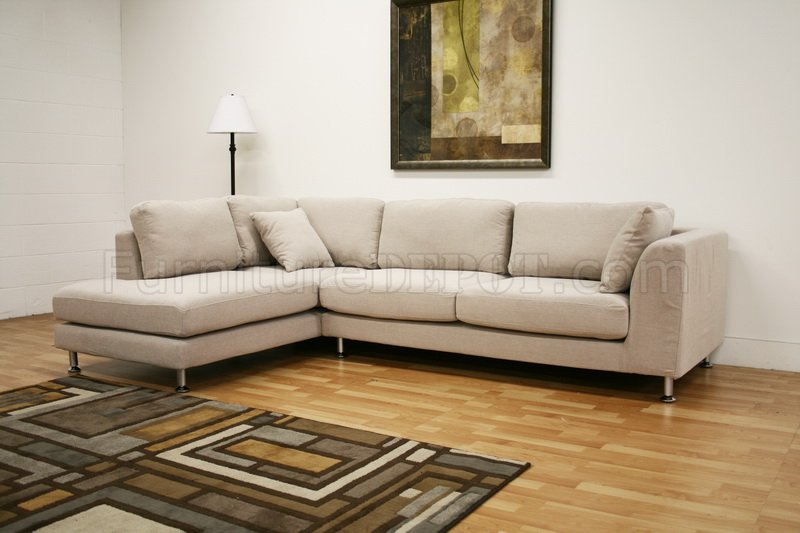 Fabric Modern Sectional Sofa Sterling Cream