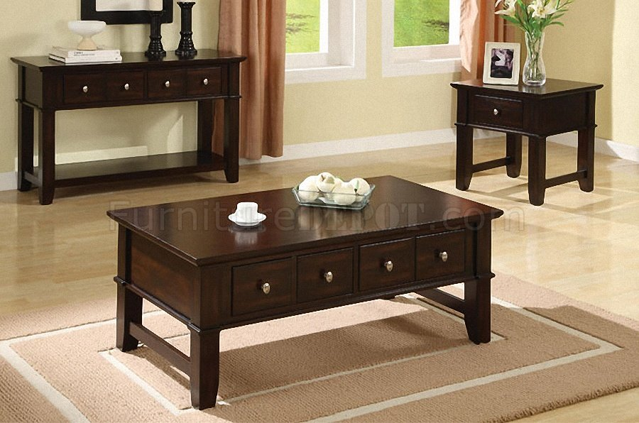 - Dark Espresso Finish Coffee, Console & End Table Set W/Drawers