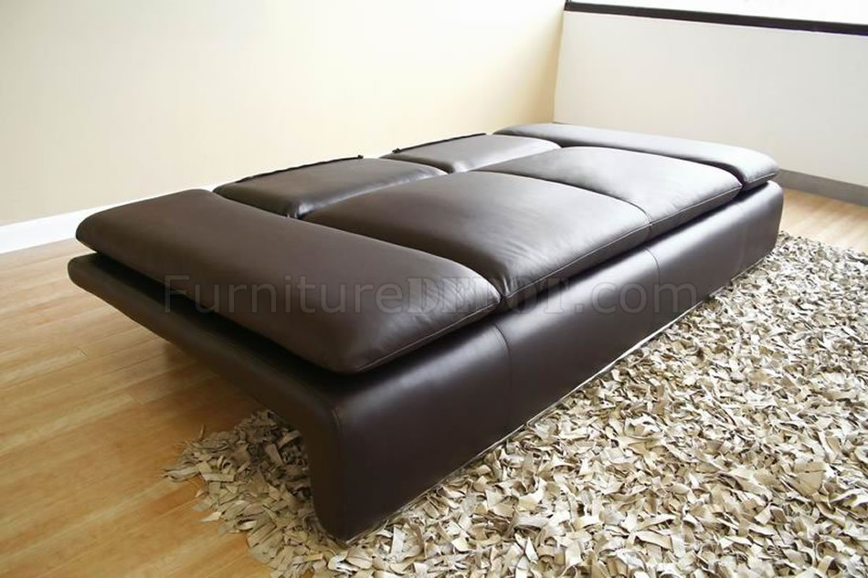 Modern Leather Sleeper Sofa Loveseat Set W Adjustable Arms