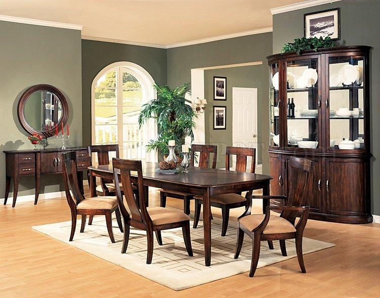 distressed cherry formal dining room set w/microfiber seats