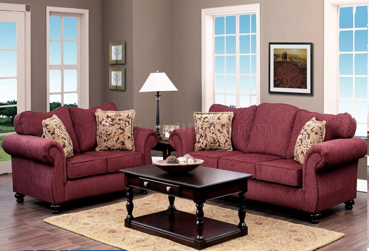 Burgundy Fabric Classic Sofa & Loveseat Set w/Options