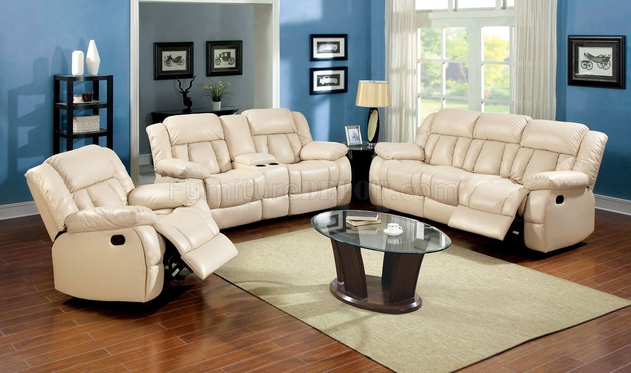 Barbado Reclining Sofa Cm6827 In Ivory Leather Match W Options