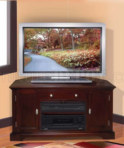 Dark Cherry Finish Contemporary Tv Stand With Cabinets