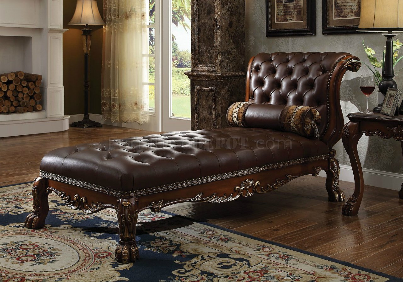 Dresden Chaise 96487 In Cherry Oak By Acme W Accent Pillow
