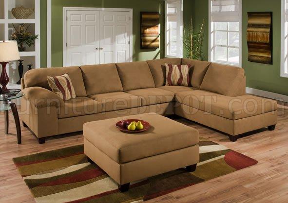Tan Cigar Fabric Modern Sectional Sofa