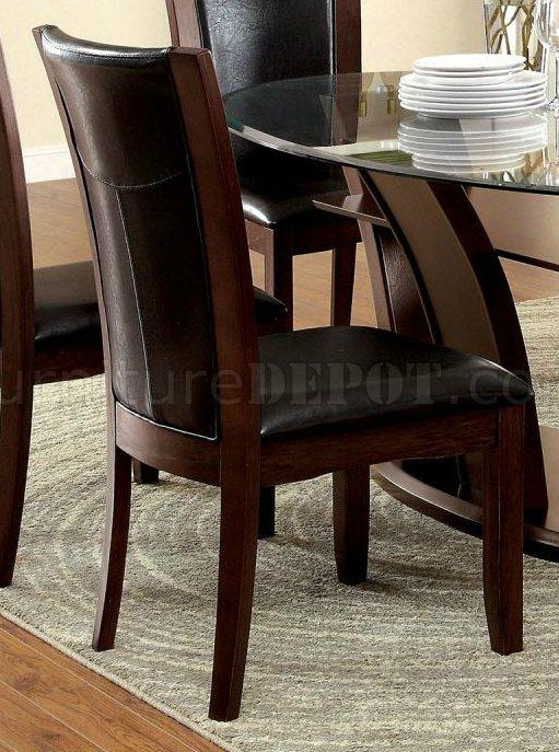 Manhattan Dining Room Cm3710ot 7pc Set In Dark Cherry Amp Brown